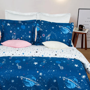 NTBAY Microfiber Duvet Cover Set, 2/3 Pieces Ultra Soft Starry Sky Printed Comforter Cover Set