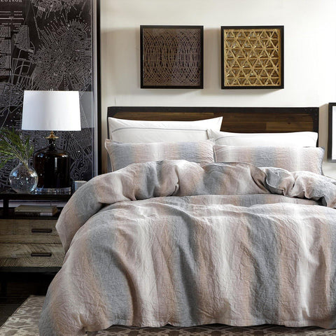 NTBAY 3 Pieces Duvet Cover Set 100% French Linen with Hidden Tie Closure, Camel and Grey