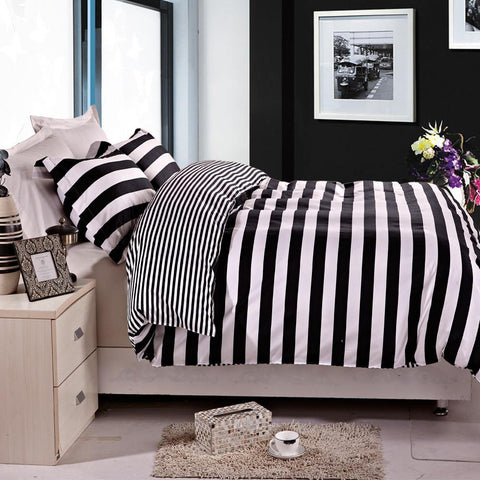 3 Pieces Black and White Stripe Printed Duvet Cover Set - NTBAY