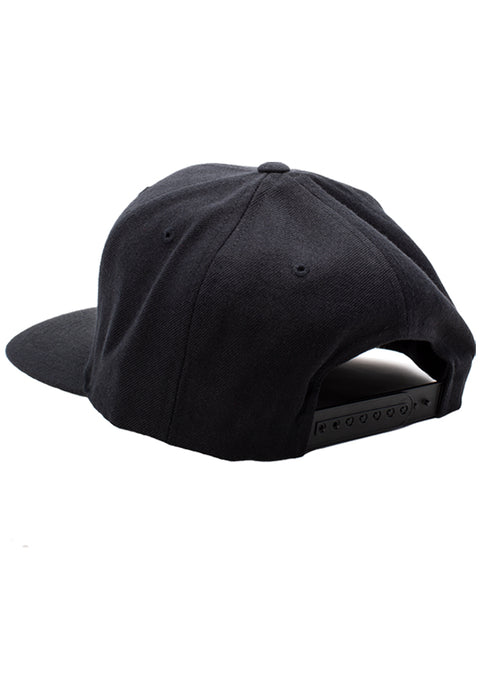 R Logo - 6 Panel Snapback Hat Black