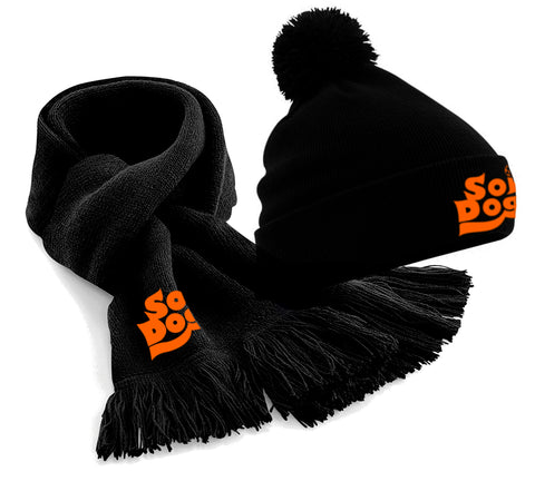 SCARF & HAT SET - SLOUCH OR BOBBLE  - BLACK - UNISEX