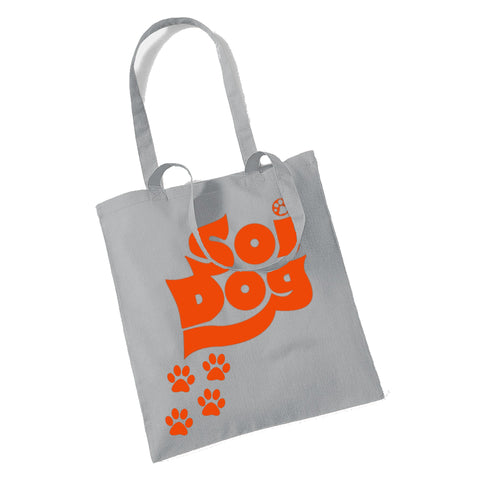 TOTE BAG GREY WITH ORANGE PAW