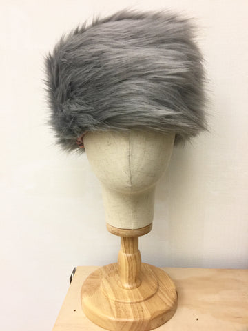 Ladies Pill Box Cossack Faux Fur Hat in Mid Grey fully lined Warm and Cosy