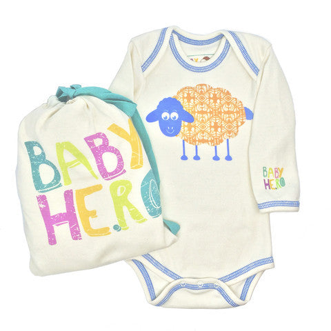 CHARLI - Baby Hero - Year of the Sheep Blue Long Sleeve Onesie - 1