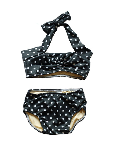 CHARLI - Red Dolly Swimwear - Black Retro Polka Dot Baby Bikini - 1
