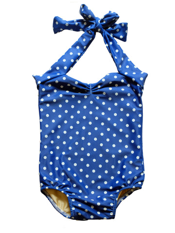 CHARLI - Red Dolly Swimwear - Blue Retro Polka Dot Baby One Piece