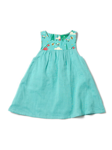 Sky Blue Double Cloth Twirl Dress