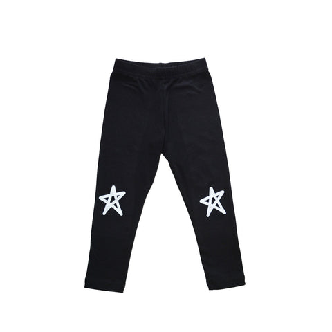 CHARLI - Little Urban Apparel - Black Star Leggings - 1