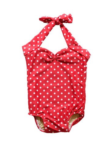 CHARLI - Red Dolly Swimwear - Retro Polka Dot Baby One Piece - 1