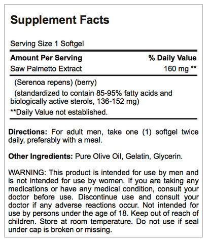 Puritan's Pride Saw Palmetto Standardized Extract 160 mg / 60 Softgels / Item #006895