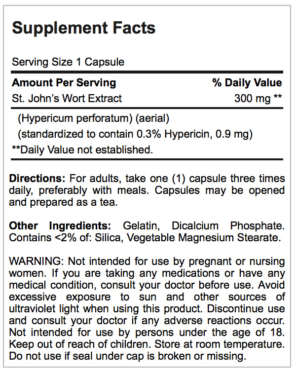 St. John's Wort Standardized Extract 300 mg