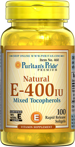 Puritan's Pride Vitamin E-400 iu Mixed Tocopherols Natural 400 IU / 100 Softgels / Item #000460 - Puritan's Pride Singapore
