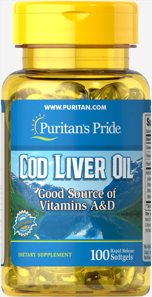 Puritan's Pride Norwegian Cod Liver Oil 415 mg/ 100 Softgels / Item #001150