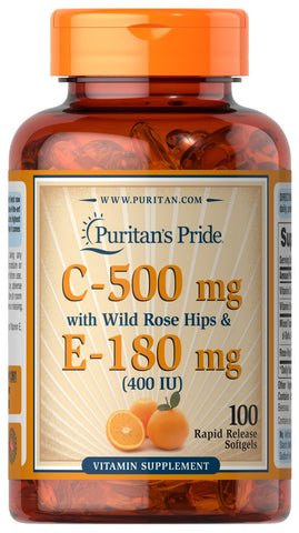 Puritan's Pride Vitamin C & E 500 mg/400 IU with Rose Hips 500 mg/400 IU / 100 Softgels / Item #001261 - Puritan's Pride Singapore