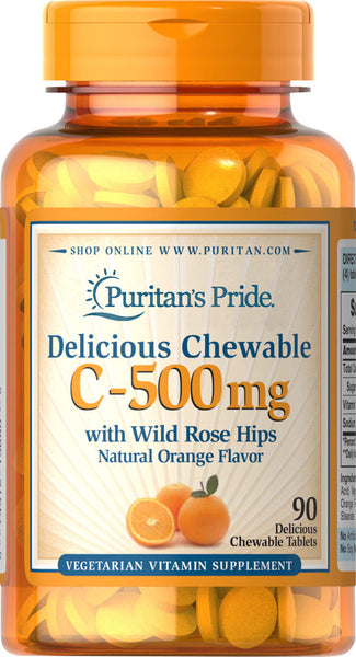 Puritan's Pride Chewable Vitamin C-500 mg with Rose Hips 500 mg / 90 Chewables / Item #003880 - Puritan's Pride Singapore