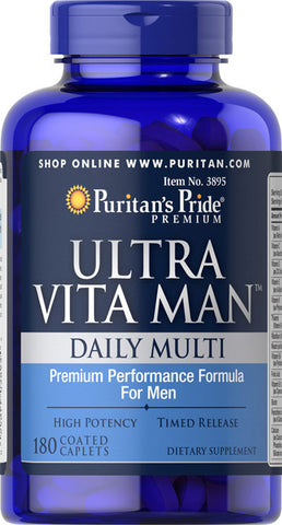 Puritan's Pride Ultra Vita Man™ Time Release 180 Caplets / Item #003895