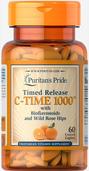 Puritan's Pride Vitamin C-1000 mg with Rose Hips Timed Release 1000 mg / 60 Caplets / Item #004070