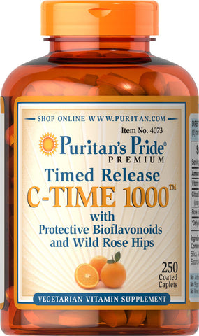 Puritan's Pride Vitamin C-1000 mg with Rose Hips Timed Release 1000 mg / 250 Caplets / Item #004073 - Puritan's Pride Singapore