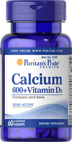 Puritan's Pride Calcium Carbonate 600 mg + Vitamin D 250 IU 600 mg / 60 Caplets / Item #004230