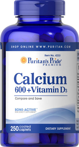 Puritan's Pride Calcium 600 + Vitamin D3 600 mg / 250 Coated Caplets / Item #004233 - Puritan's Pride Singapore