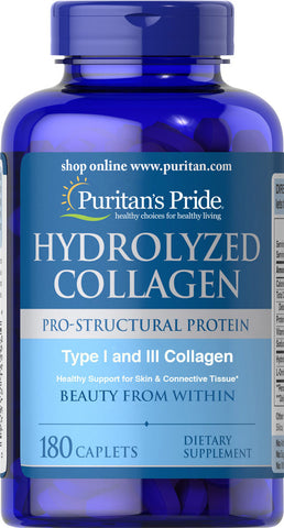 Puritan's Pride Hydrolyzed Collagen 1000 mg / 180 Caplets / Item #004596 - Puritan's Pride Singapore
