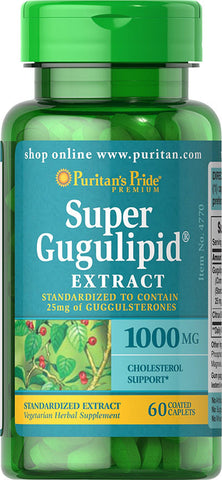 Puritan's Pride Super Gugulipid® Extract with Citrus Bioflavonoids 1000 mg /5 mg / 60 Caplets / Item #004770 - Puritan's Pride Singapore