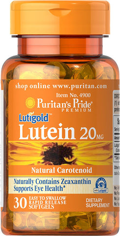 Puritan's Pride Lutein 20 mg with Zeaxanthin 20 mg / 30 Softgels / Item #004900