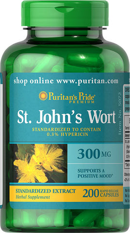 Puritan's Pride St. John's Wort Standardized Extract  300 mg / 200 Capsules / Item #005072