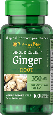 Puritan's Pride  Ginger Root 550 mg / 100 Capsules / Item #005145