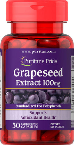 Puritan's Pride Grapeseed Extract 100 mg / 50 Capsules / Item #005430
