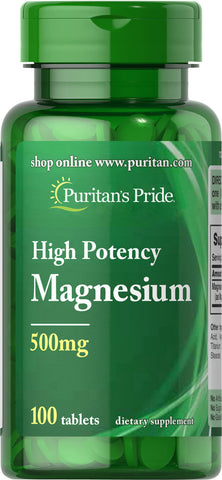 Puritan's Pride Magnesium 500 mg / 100 Tablets / Item #005535