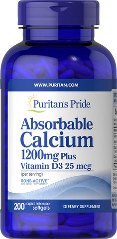 Puritan's Pride Absorbable Calcium 1200 mg with Vitamin D3 1000 IU 1200 mg / 200 Softgels / Item #006274