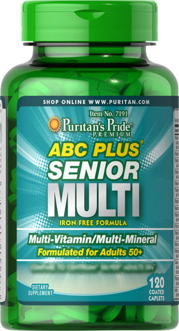 Puritan's Pride ABC Plus® Senior Multivitamin Multi-Mineral Formula 120 Caplets / Item #007191 - Puritan's Pride Singapore