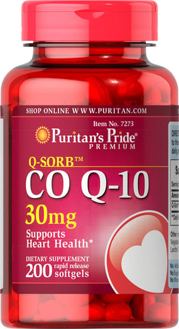 Puritan's Pride Q-SORB™ Co Q-10 30 mg / 200 Softgels / Item #007273 - Puritan's Pride Singapore