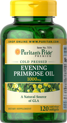 Puritan's Pride Evening Primrose Oil 1000 mg with GLA 1000 mg / 120 Softgels / Item #007374 - Puritan's Pride Singapore