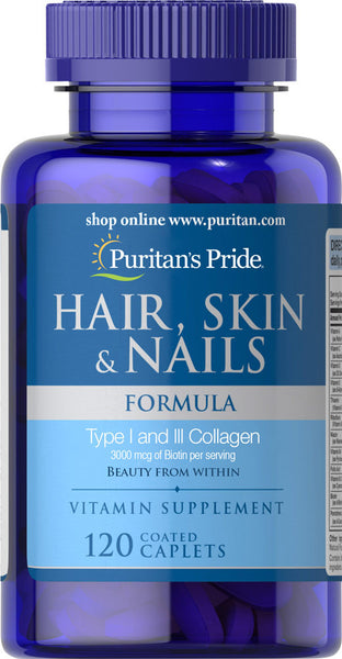 Puritan's Pride Hair, Skin & Nails Formula 120 Caplets / Item #007582 - Puritan's Pride Singapore