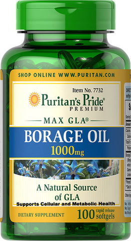 Puritan's Pride Borage Oil 1000 mg 1000 mg / 100 Softgels / Item #007732 - Puritan's Pride Singapore