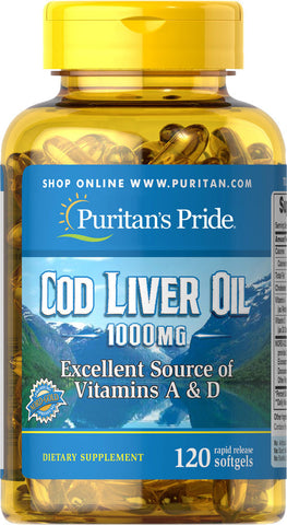 Cod Liver Oil 1000 mg 1000 mg / 120 Softgels / Item #007743