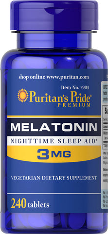 Puritan's Pride Melatonin 3 mg / 240 Tablets / Item #007904