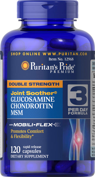 Puritan's Pride Double Strength Glucosamine, Chondroitin & MSM Joint Soother® 120 Capsules / Item #012968 - Puritan's Pride Singapore