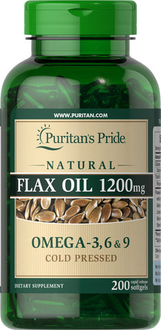 Puritan's Pride Natural Flax Oil 1200 mg / 200 Rapid Release Softgels / Item #013322