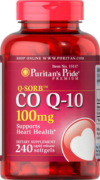 Puritan's Pride Q-SORB™ Co Q-10 100 mg / 240 Softgels / Item #015137 - Puritan's Pride Singapore