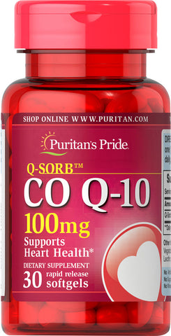 Puritan's Pride Q-SORB™ Co Q-10 100 mg / 30 Rapid Release Softgels / Item #015592