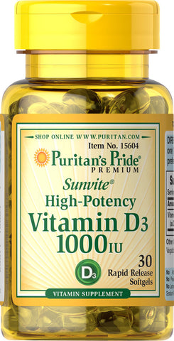 Puritan's Pride Vitamin D3 25 mcg (1000 IU) Trial Size / 30 Softgels / Item #015604