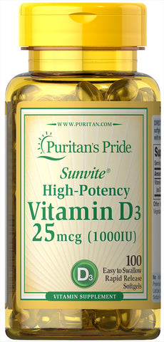 Puritan's Pride Vitamin D3 25 mcg (1000 IU) / 100 Softgels / Item #015605