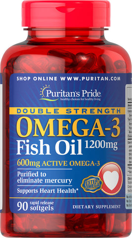 Puritan's Pride Double Strength Omega-3 Fish Oil 1200 mg/600 mg Omega-3 1200 mg / 90 Softgels / Item #017131 - Puritan's Pride Singapore
