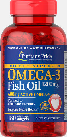 Puritan's Pride Double Strength Omega-3 Fish Oil 1200 mg/600 mg Omega-3 1200 mg / 180 Softgels / Item #017132