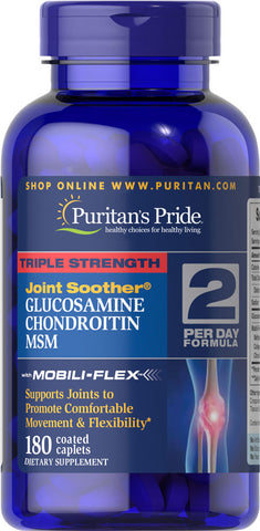 Puritan's Pride Triple Strength Glucosamine, Chondroitin & MSM Joint Soother® 180 Caplets / Item #017896 - Puritan's Pride Singapore