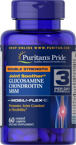 Puritan's Pride Double Strength Glucosamine, Chondroitin & MSM Joint Soother® 60 Caplets / Item #027810