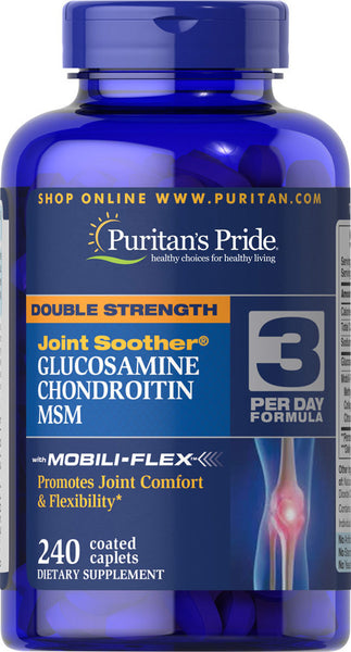 Puritan's Pride Double Strength Glucosamine, Chondroitin & MSM Joint Soother® 240 Caplets / Item #027814 - Puritan's Pride Singapore